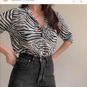 Vintage silk zebra blouse size 4/6